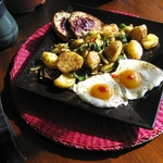 Farm Fresh Eggs, Curried Home Fried Potatoes